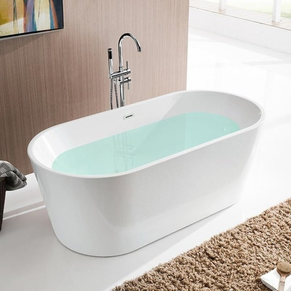 """Vanity Art 59"""" Freestanding Acrylic Bathtub Modern Stand Alone Soaking Tub with Chrome Finish Slotted Overflow & Pop-up Drain"""