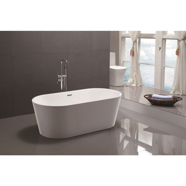 Vanity Art 59 Inch Freestanding White Acrylic Soaking Bathtub Free Shipping