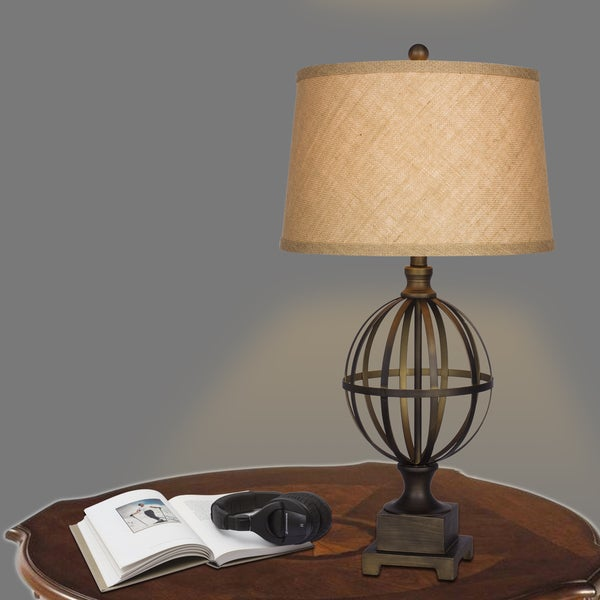 30.5 in. Metal Table Lamp in Bronze Finish