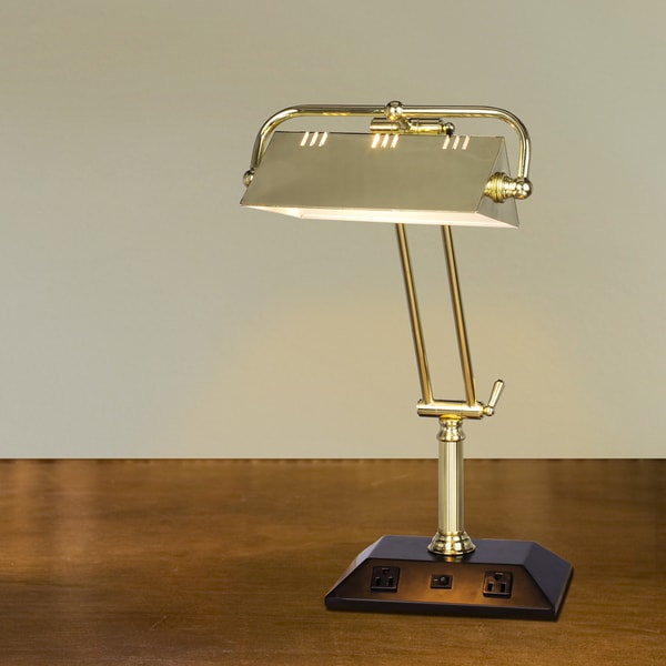 24 in. Adjustable Satin Brass Tech Table Lamp w/2 base Outlets