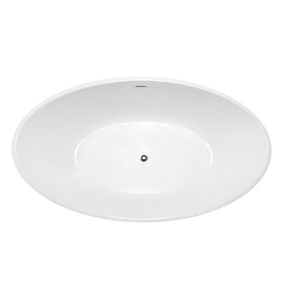 Vanity Art White Acrylic 69 Inch Freestanding Soaking Bathtub   Free  Shipping Today   Overstock.com   19191433
