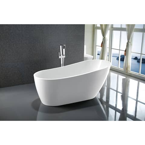 """Vanity Art 67"""" Freestanding Acrylic Bathtub Modern Stand Alone Soaking Tub with Polished Chrome Slotted Overflow & Pop-up Drain"""