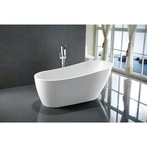 "Vanity Art 67"" Freestanding Acrylic Bathtub Stand Alone Soaking Tub with Polished Chrome Slotted Overflow & Pop-up Drain"