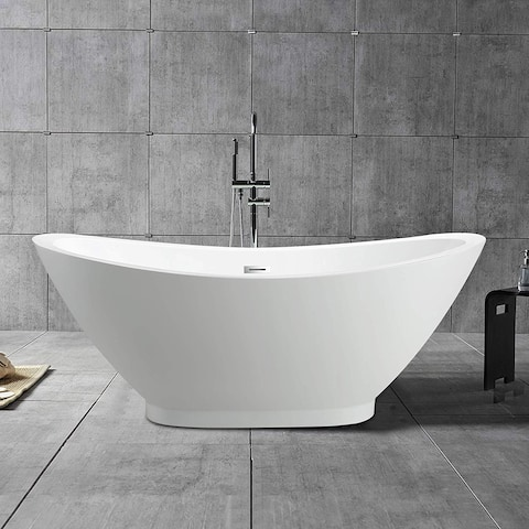 """Vanity Art 69"""" Freestanding Acrylic Bathtub Modern Stand Alone Soaking Tub with Polished Chrome Slotted Overflow & Pop-up Drain"""