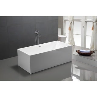 Vanity Art White Acrylic 59-inch Freestanding Soaking Bathtub