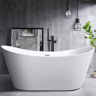 Vanity Art White Acrylic 71 Inch Freestanding Soaking Bathtub
