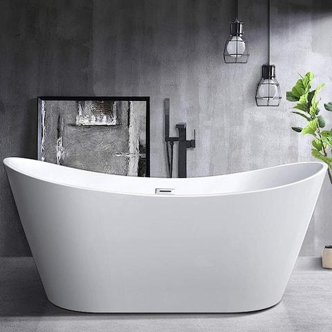 Vanity Art White Acrylic 71-inch Freestanding Soaking Bathtub