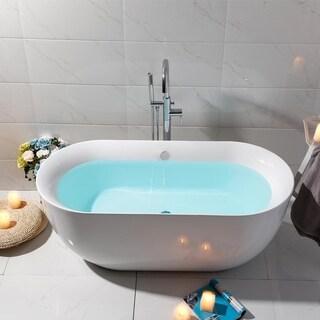 Vanity Art 67-inch Freestanding Acrylic Soaking Bathtub