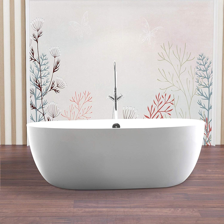 Vanity Art 67 Freestanding Acrylic Bathtub Modern Stand Alone Soaking Tub With Chrome Finish Round Overflow Pop Up Drain Overstock 12365363