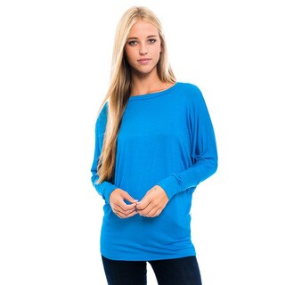 Women's Blue Rayon/Spandex Long Sleeve Top