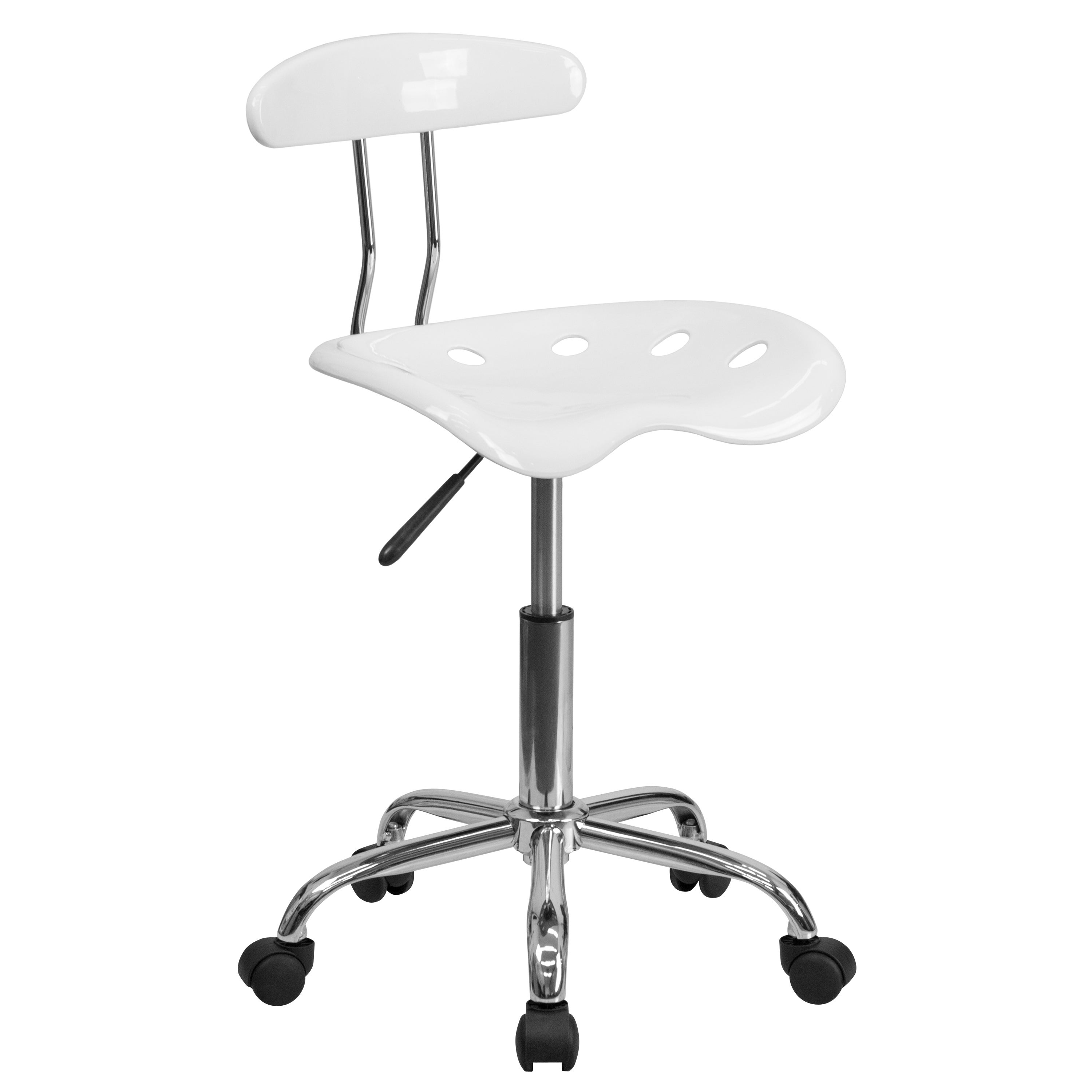 Saddle White Home Office Chair with Tractor Seat (1 Chair)
