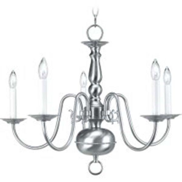 Livex Lighting Williamsburgh 5 Light Brushed Nickel Chandelier