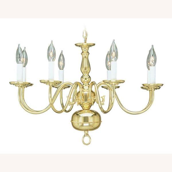 Livex Lighting Williamsburgh 8 Light Polished Brass Chandelier