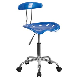 Saddle Bright Blue Adjustable Home Office Chair with Tractor Seat