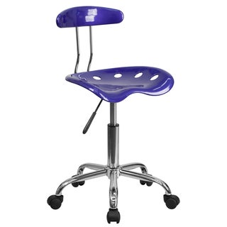 Blue Adjustable Task Chair with Tractor-style Seat