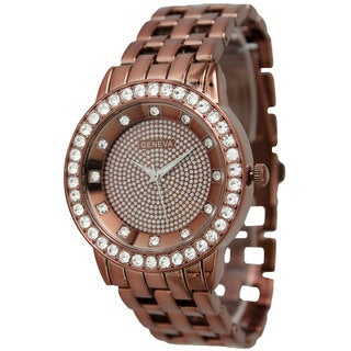 Olivia Pratt Metal and Rhinestone Bracelet Watch