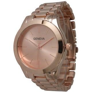Geneva Olivia Pratt Rose Tone Stainless Steel Boyfriend Bracelet Watch