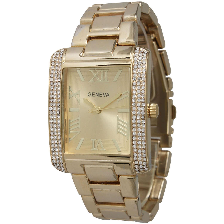 Olivia Pratt Rhinestone Rectangular Bracelet Watch (Gold)...