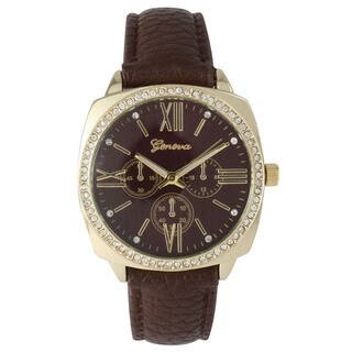 Olivia Pratt Classic Rhinestone Leather Watch