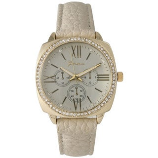 Olivia Pratt Classic Rhinestone Leather Watch