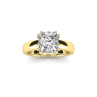 3/4 Carat Cushion Diamond Solitaire Engagement Ring in 14 Karat Yellow Gold - White I-J
