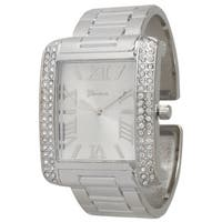 Olivia Pratt Women's Silvertone Stainless Steel Cuff Watch