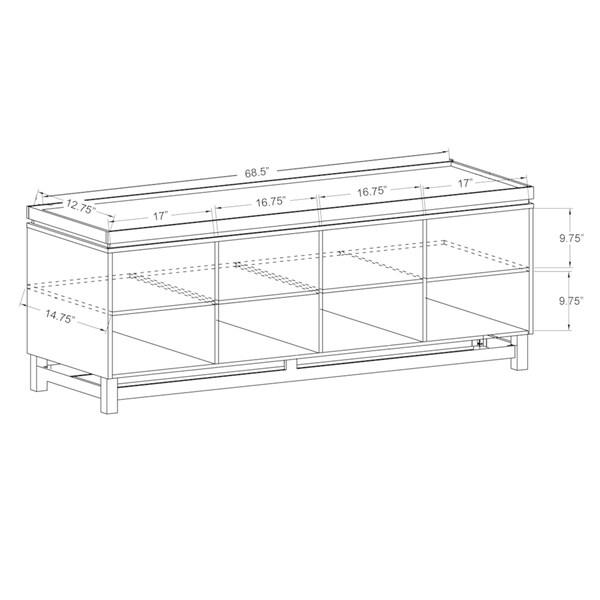 Furniture of America Lofi Modern 8-shelf Buffet Cabinet