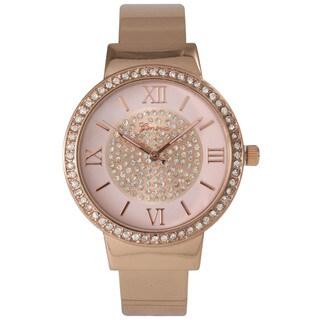 Olivia Pratt Metal Rhinestone-accented Sleek Cuff Watch