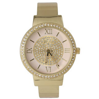 Olivia Pratt Metal Rhinestone-accented Sleek Cuff Watch