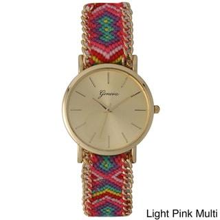 Olivia Pratt Women's Colorful Patterned Fabric Watch