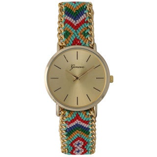 Olivia Pratt Women's Colorful Patterned Fabric Watch