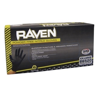 Raven Powder Free Black Nitrile Gloves - X Large