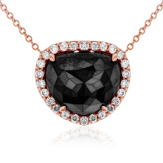 Annello by Kobelli 14k Rose Gold 5ct Triangular Black and White Diamond Halo Necklace (G-