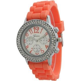 Olivia Pratt Women's Silicone Numbered Rhinestone Bezel Band Watch