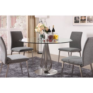 Toscana Glass Round Dining Table - Silver