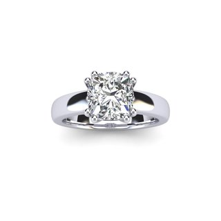 1 Carat Cushion Diamond Solitaire Engagement Ring in 14 Karat White Gold (I-J, I1-I2)