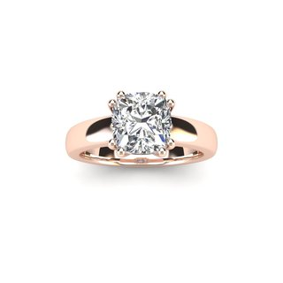 1 Carat Cushion Diamond Solitaire Engagement Ring in 14 Karat Rose Gold - White I-J