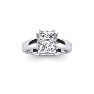 3/4 Carat Cushion Diamond Solitaire Engagement Ring in 14 Karat White Gold - White I-J