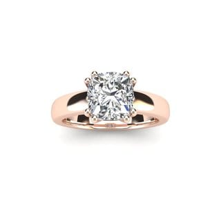 3/4 Carat Cushion Diamond Solitaire Engagement Ring in 14 Karat Rose Gold (I-J, I1-I2)