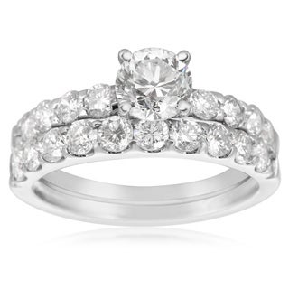 2 Carat Round Center Engagement Ring and Wedding Band Set In 14K White Gold (I-J, I1-I2)