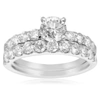 14k White Gold 2ct. Diamond Engagement Ring and Wedding Band Set with 3/4ct. Clarity Enhanced Center - White I-J