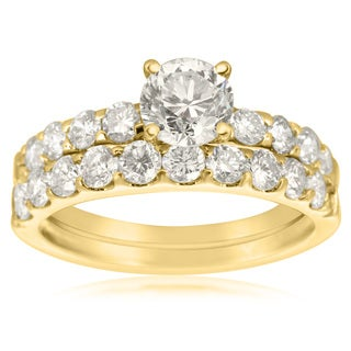 2 Carat Round Center Engagement Ring and Wedding Band Set In 14K Yellow Gold (I-J, I1-I2)
