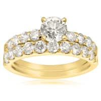 14k Yellow Gold 2ct. Diamond Engagement Ring and Wedding Band Set with 3/4ct. Clarity Enhanced Cente - White I-J