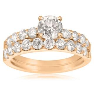 2 Carat Round Center Engagement Ring and Wedding Band Set In 14K Rose Gold (I-J, I1-I2)