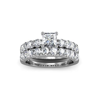2 Carat Princess Center Engagement Ring and Wedding Band Set In 14K White Gold (I-J, I1-I2)