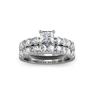 14k White Gold 2ct. Diamond Engagement Ring and Wedding Band Set with 3/4ct. Clarity Enhanced Center - White I-J