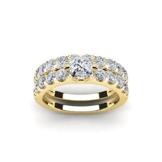 2 Carat Princess Center Engagement Ring and Wedding Band Set In 14K Yellow Gold (I-J, I1-I2)