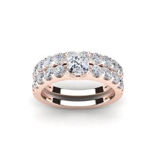 2 Carat Princess Center Engagement Ring and Wedding Band Set In 14K Rose Gold (I-J, I1-I2)