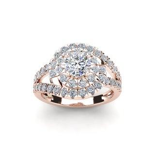 2 1/4 Carat Bold And Beautiful Bypass Round Diamond Engagement Ring, 14K Rose Gold (I-J, I1-I2)