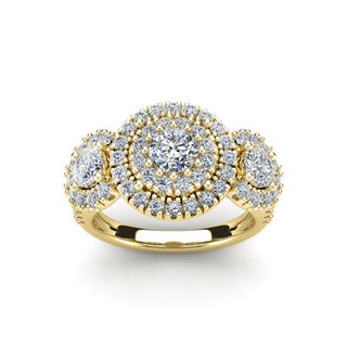 14k Yellow Gold 2ct. Diamond Engagement Ring with 1/2ct. Clarity Enhanced Center Diamond - White I-J
